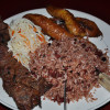 Typical Nicaraguan food. Carne asada, gallopinto, maduros y ensalada